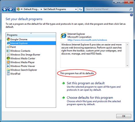 Используются все программы по умолчанию в Windows 7
