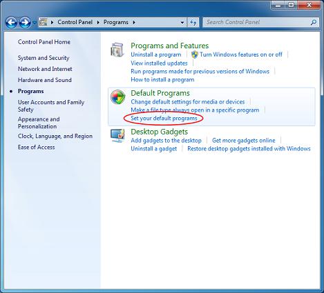 Установить программы по умолчанию в Windows 7