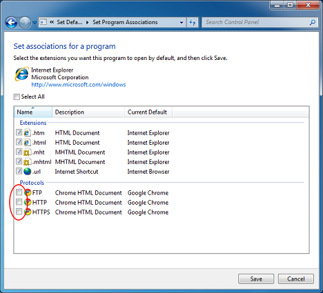 Выбрать умолчания для программы в Windows 7