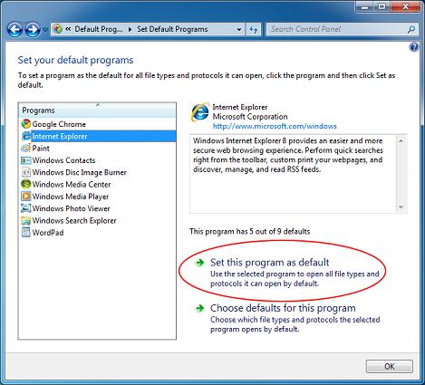 Использовать эту программу по умолчанию в Windows 7